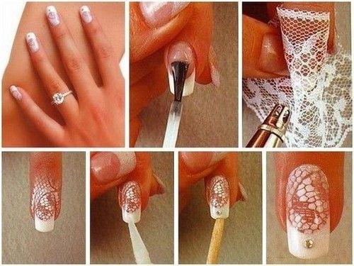 Декор тканью на ногтях