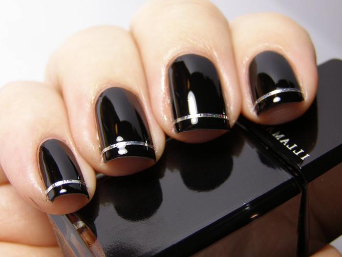 Стильный маникюр черный (6)