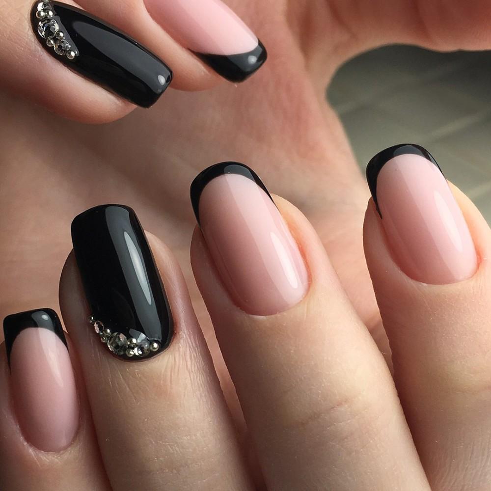 Наращивание ногтей френч черный фото